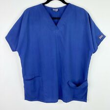 Cherokee Solid Blue Scrub Top Shirt Size Large