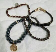 Canvas 5 Row Gemstone Bracelets with Hematite and Copperstone Bracelet Set $55