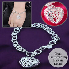 925 Sterling Silver Plated Intricate Carved Hollow Out Heart Bead Chain Bracelet