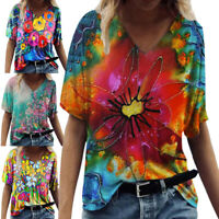 Women Print V Neck Loose T-Shirt Ladies Short Sleeve Casual Blouse Tops