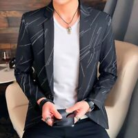 2019 Men Korean Blazer Coat One Button Lapel Slim Fit Youth Casual Spring Jacket