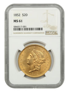 1852 $20 NGC MS61 - Liberty Double Eagle - Gold Coin - Scarce Early Double Eagle