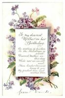 Antique colour printed postcard card To my dearest mother on her birthday