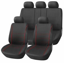 DAEWOO LANOS 97-02 BLACK SPORT SEAT COVERS WITH RED PIPING