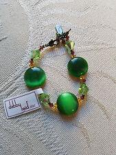 """DABBY REID """"Ronnie Mae"""" Swarovski crystal bracelet ~ EMERALD Cat's Eye ~ NEW!"""