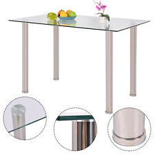 Clear Glass Top Dining Table Rectangle Stainlesss Steel Legs Home Funiture New