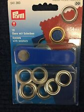 Prym 14mm Silver Eyelets With Washers and Fitting Tool