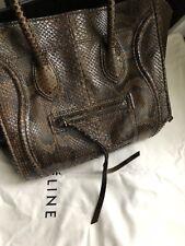 Céline medium vintage brown phyton phantom tote bag  handbag top handle classic
