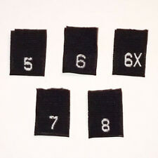 5-6-6X-7-8 Mixed Size BLACK Labels-Qty 100-Woven Tag Label tags Clothing Child