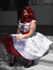 Rockabilly Retro White Polka Dot VIVA Black trim POCKETS XXL 2x Size 22 PINUP