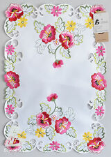 "2x Runners/ Dolies, Embroidered Pink Flowers, 35x50cm(14""x20"")Home Decor FFDWY51"