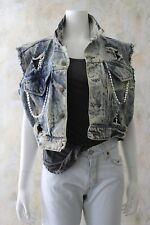 Vtg 80s ACID WASH Bedazzled Jean Bling Cropped Jean JACKET Madonna OS
