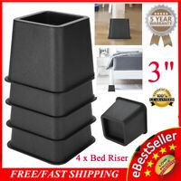 "4Pcs 3"" Bed Chair Risers Feet Leg Lift Furniture Extra Raisers Stand Black"