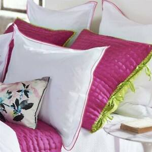 RARE DESIGNERS GUILD ASTOR PEONY QUILTED PERCALE 2 EURO SHAM HOT PINK LIME GREEN