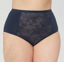 NEW Catherines Plus Size 15 Dark Blue Venice Rose Lace Hi-Waist Brief Panty