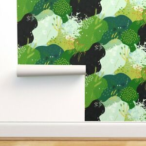 Peel-and-Stick Removable Wallpaper Gardening Green Plants Flowers Abstract Moss