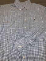 RALPH LAUREN Polo Blake Shirt blue plaid  (L) 16.5