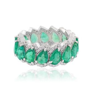 18k White Gold 5.56 Ct Pear Shape Emerald Band Ring SI Clarity HI Color Diamond