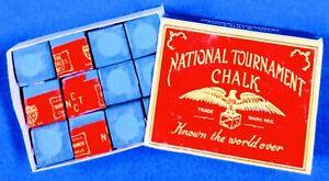 "National Tournament Chalk ""VINTAGE 1970-80's"" ~ 12 pieces in BOX ~ Color: BLUE"