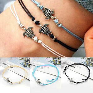 3pcs Sea Turtle Surfer Anklet Bracelet Set Ankle Beach Charm Boho Friendship BFF