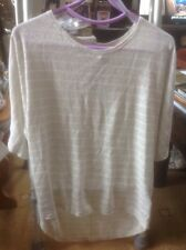 👀👚NEW LOOK 👀 UK 12 Lovely Silver Lurex Striped Jumper Top -🌼new WT RRP 17.99