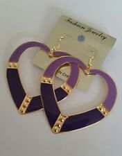 Brand New Big Gold and Purple Lilac Heart Hoop Earrings 6.5cm Summer Retro Style