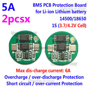 2PCS 1S 6A 3.7V Li-ion Lithium 18650 Battery Input Ouput Protection Board PCB
