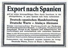 Deutsch- spanische Handelszeitung DEUTSCHE WARTE Barcelona Reklame von 1927