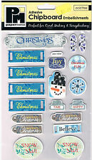 Papermania chipboard shapes Christmas joy Xmas self adhesive blue tags snowman