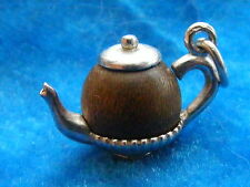 VINTAGE STERLING SILVER CHARM TOUCH WOOD WUD TEAPOT