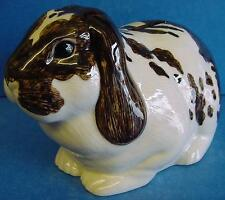 More details for quail ceramic brown & white lop eared rabbit moneybox money box or piggy bank