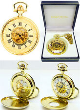 MOUNT Royal Twin-COPERCHIO Skeleton Orologio da taschino 17 gioiello piatto oro incisione GRATIS B41