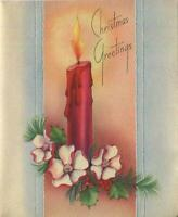 VINTAGE CHRISTMAS RED CANDLE PINE NEEDLES RED BERRIES ROSES GREETING ART CARD