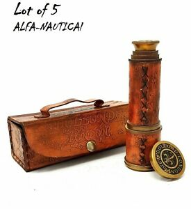 Nautical Brass Telescope 16'' Spyglass With Leather Box Set of 5 Piece