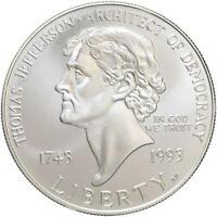 1993 P Jefferson 250th Anniversary BU Commemorative 90% Silver Dollar US Coin