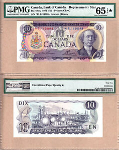 1971 $10 BC-49cA *TL Replacement Bank of Canada Note; PMG GEM UNC65 EPQ