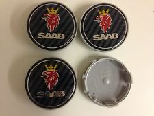 4x Wheel Center Hub Caps Badge For Saab Face 63mm Clip 59mm Carbon Fiber Style