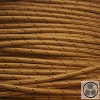 Textilkabel Stoffkabel Lampen Kabel Stromkabel Elektrokabel Gold Punkte 3adrig