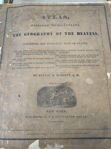 1835 ATLAS OF GEOGRAPHY OF THE HEAVENS BY ELIJAH BURRITT PUB BY HUNTINGTON NY