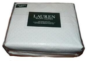 Ralph Lauren Light Peachy Pink Diamond Dots Abstract 4P Queen Sheet Set Cotton