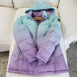 Justice Mermaid Ombre Purple & Teal & Aqua Blue Winter Coat Girls Sz 18/20