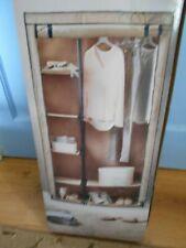 Beige Double Canvas Wardrobe Hanging Rail Home Furniture