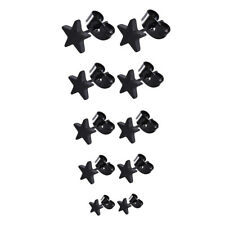 5X(5 Pairs Stainless Steel Star Stud Earrings for Men and Women,3 mm to 7 m Y5R2