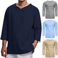 Men's Summer T-Shirt Cotton Linen Hippie Shirt V-Neck Beach Yoga Top Blouse GIFT