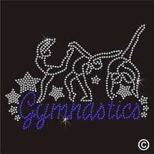 Gymnastics Rhinestone Diamante Transfer Iron On Hotfix Gem Crystal TShirt Motif