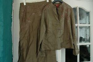 Brand new Monsoon Skirt suit ( skirt& jacket) , khaki linen size 16