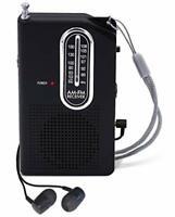 AM FM Portable Pocket Radio Mini Battery Operated Speaker with Headphone
