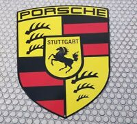 VINTAGE PORSCHE PORCELAIN GAS SERVICE STATION SPORTS CAR 911 COUPE SHIELD SIGN