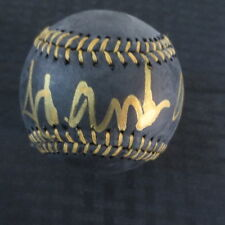 Hank Aaron Autograph Black Baseball with Coa Braves Hall of Famer