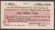 Hamburg -Beiersdorf & Co A.-G.- 1 Million Mark vom 20.08.1923